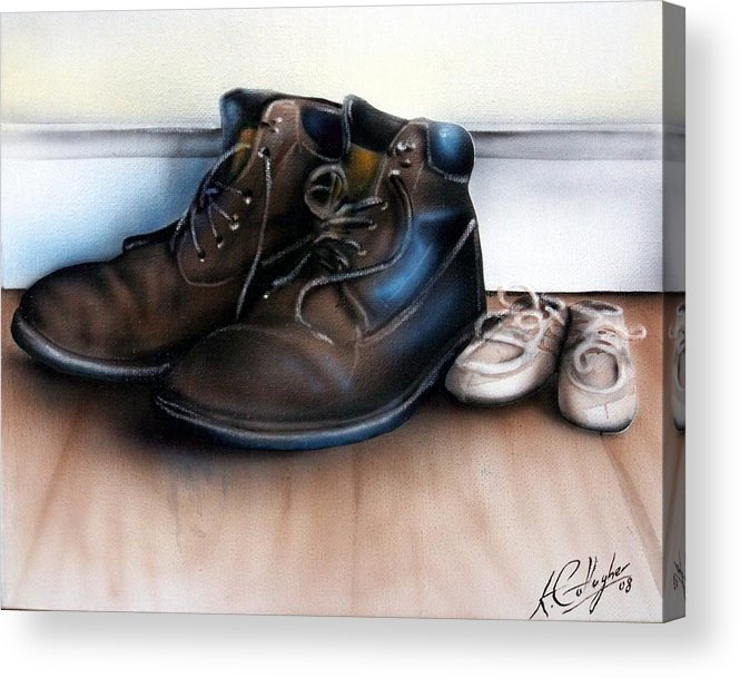 Boots Acrylic Print featuring the painting Boots And Shoes by Kevin Gallagher