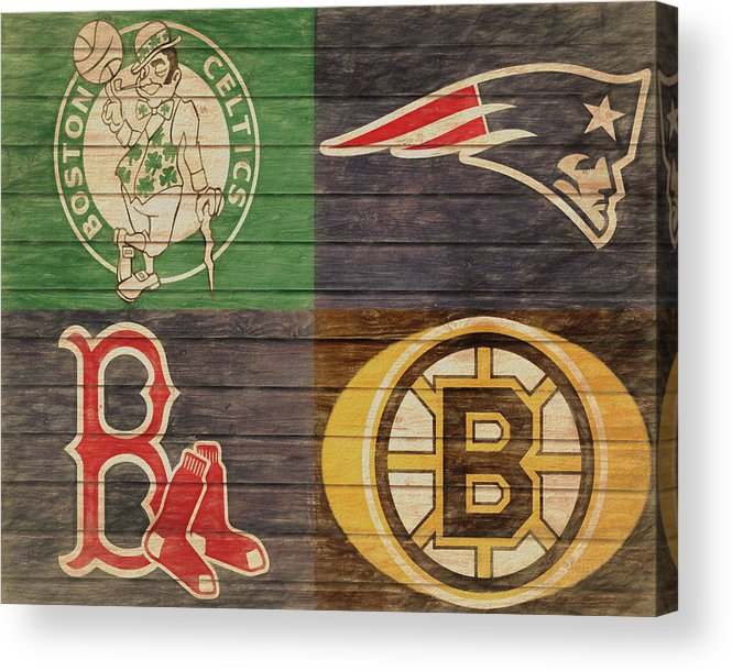 Boston Sports Teams Barn Door Acrylic Print featuring the mixed media Boston Sports Teams Barn Door by Dan Sproul
