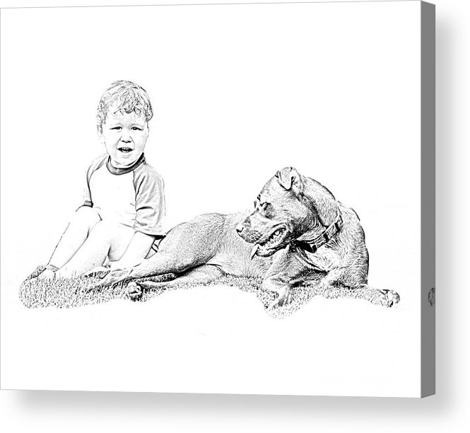 Boy Acrylic Print featuring the photograph Boy And His Dog by Ralph Perdomo