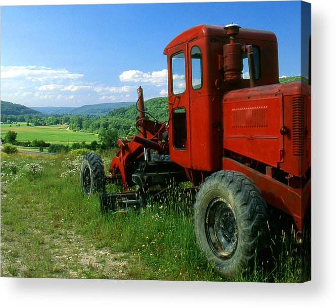 Heavy Equipment Acrylic Print featuring the photograph Bright Red Antique Grader by Roger Soule