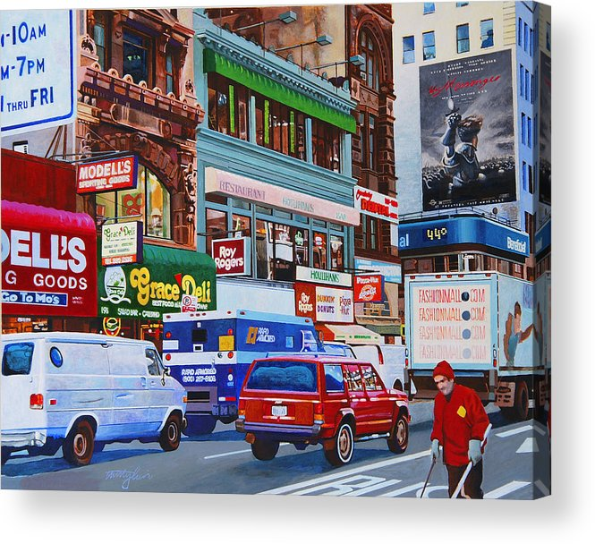 Street Scenes Acrylic Print featuring the painting Broadway by John Tartaglione