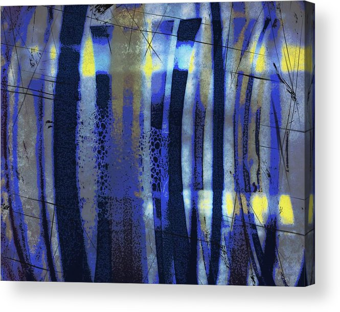 Bubble Lines Abstract Digital Image Susan Epps Oliver Original Blue Abstract Lines Fun Contemporary Acrylic Print featuring the mixed media Bubble Lines by Susan Epps Oliver