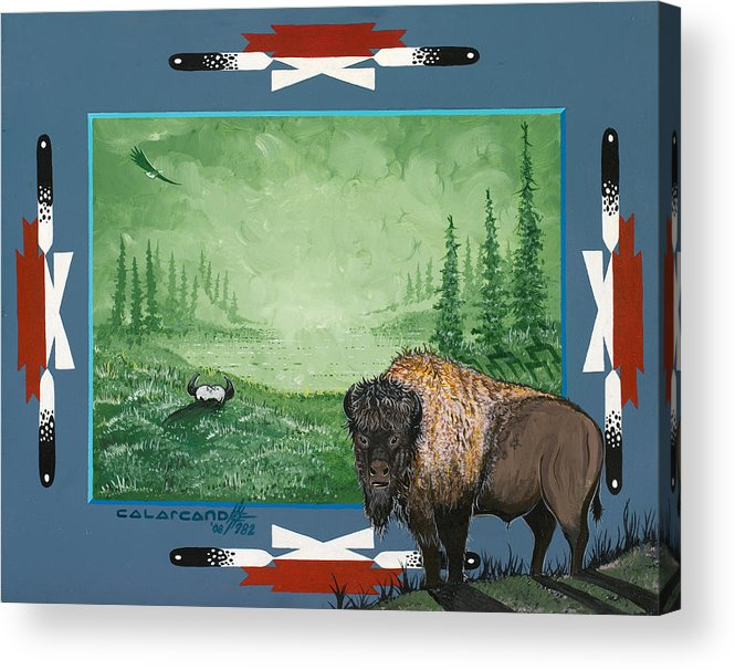 Buffalo Acrylic Print featuring the painting Buffalo Spirit by Cal Arcand