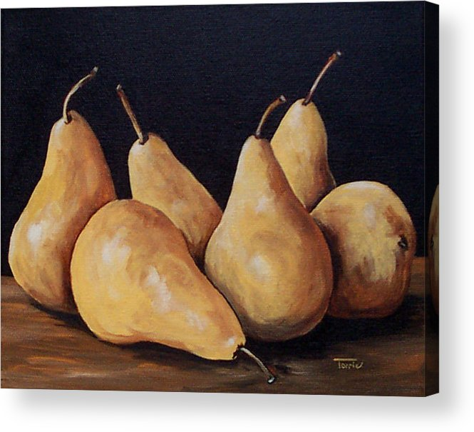 Golden Bosc Pears Acrylic Print featuring the painting Bunch Of Bosc Pears by Torrie Smiley