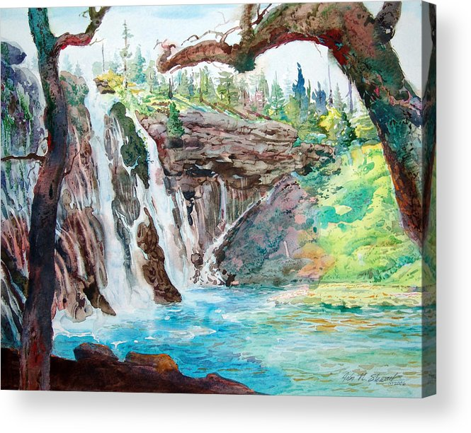 Watercolor Acrylic Print featuring the painting Burney Falls by John Norman Stewart