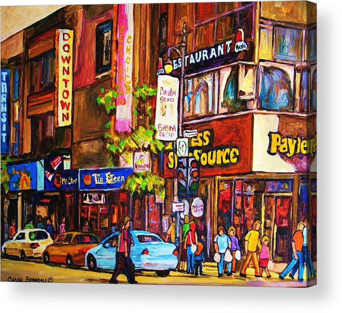 Cityscape Acrylic Print featuring the painting Busy Downtown Street by Carole Spandau