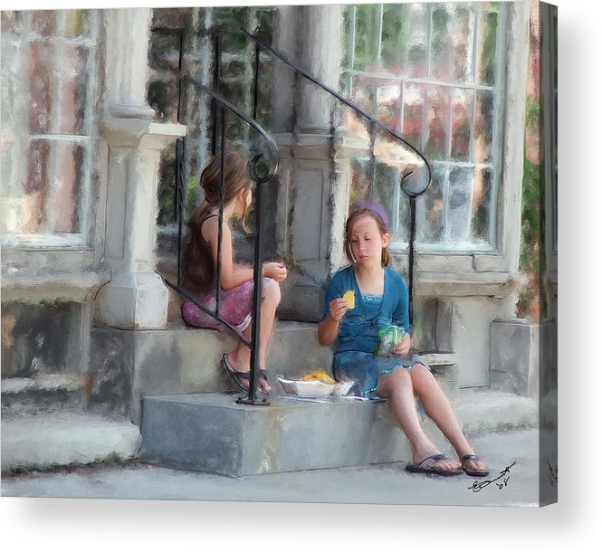 Children Sharing Swap Kids Girls Eating Snacks Lunch Relationships Friends Sisters Friendships Acrylic Print featuring the painting Can I Have One... by Eddie Durrett