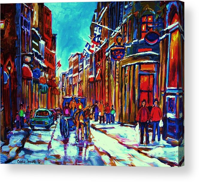 Old Montreal Acrylic Print featuring the painting Carriage Ride Through The Old City by Carole Spandau