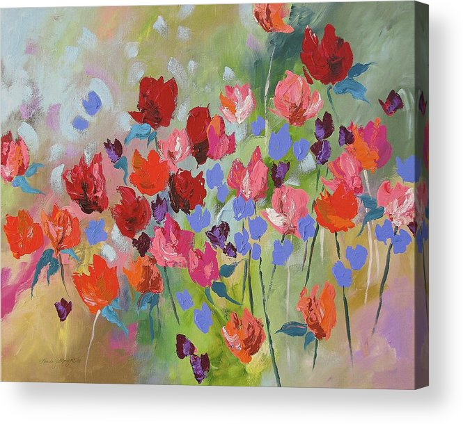 Original Acrylic Print featuring the painting Celebrate by Linda Monfort