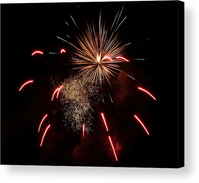 Fireworks Acrylic Print featuring the photograph Celebrations In Red by Su Ferguson - Don Burkheimer