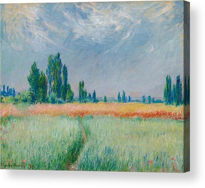 Claude Monet Acrylic Print featuring the painting Champ De Ble by Claude Monet
