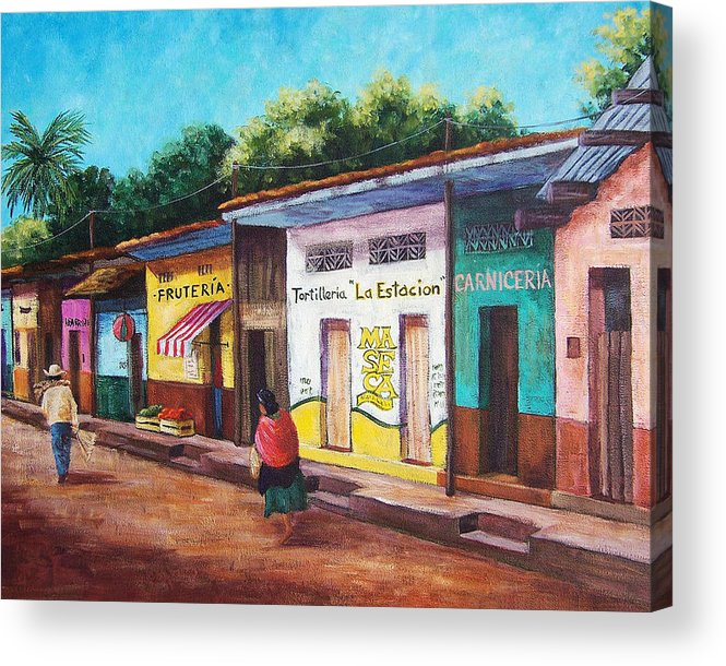 Landscape Acrylic Print featuring the painting Chiapas Neighborhood by Candy Mayer