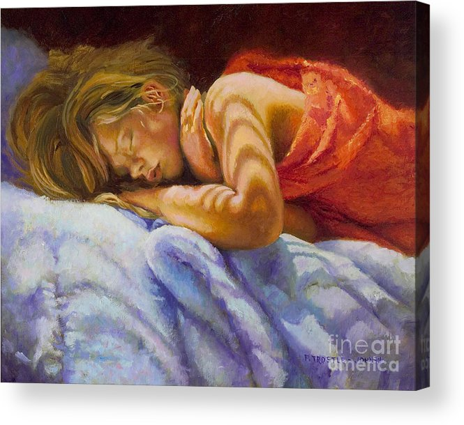 Wall Art Acrylic Print featuring the painting Child Sleeping Print Wall Art Room Decor by Patti Trostle
