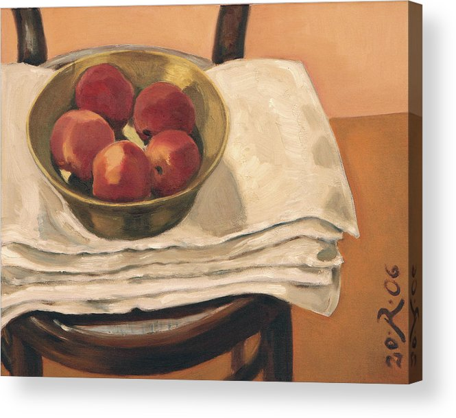 Still-life Apples Chair Red Yellow Gold Acrylic Print featuring the painting Christmas Apples by Raimonda Jatkeviciute-Kasparaviciene