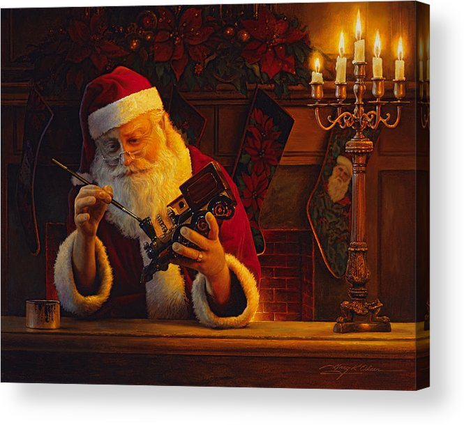 Christmas Acrylic Print featuring the painting Christmas Eve Touch Up by Greg Olsen