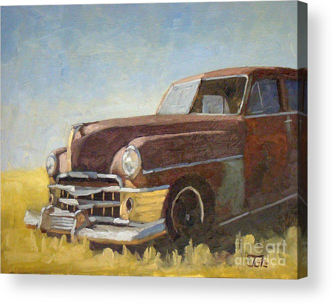 Old Cars Acrylic Print featuring the painting Chrysler Pre Bailout Days by Tate Hamilton