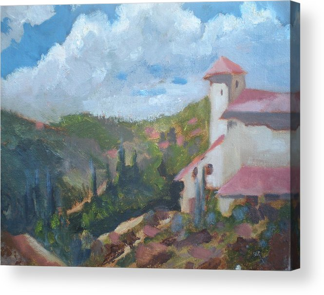 Landscape Off Del Dios Highway Acrylic Print featuring the painting Cielo Villa by Bryan Alexander