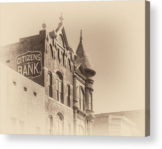 Van Buren Acrylic Print featuring the photograph Citizens Bank Sepia by James Barber