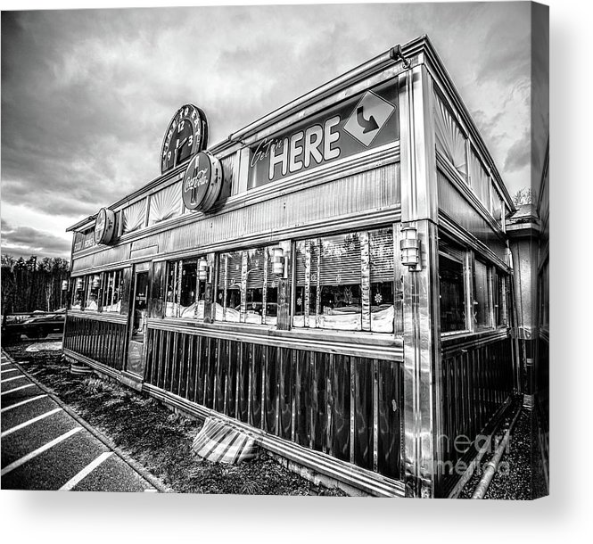 Restaurant Acrylic Print featuring the photograph Classic American Diner Black And White by Edward Fielding
