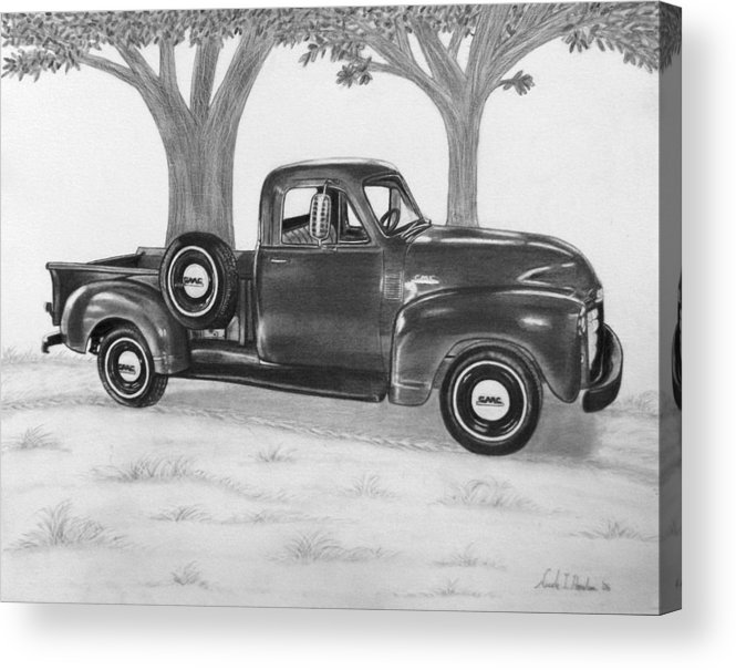 Truck Acrylic Print featuring the drawing Classic Gmc Truck by Nicole I Hamilton