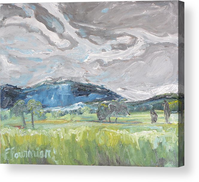 Art Acrylic Print featuring the painting Clouded Sky Over Woburn Quebec Canada by Francois Fournier