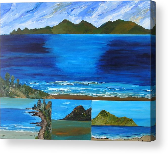 Blue Sea Ocean Coastal Vista Waves Surf New Zealand Acrylic Print featuring the painting Coast To Coast by Sher Green