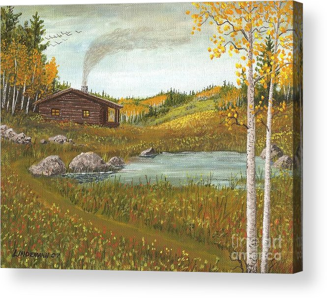 Mountain Acrylic Print featuring the painting Colorado Cabin by Don Lindemann