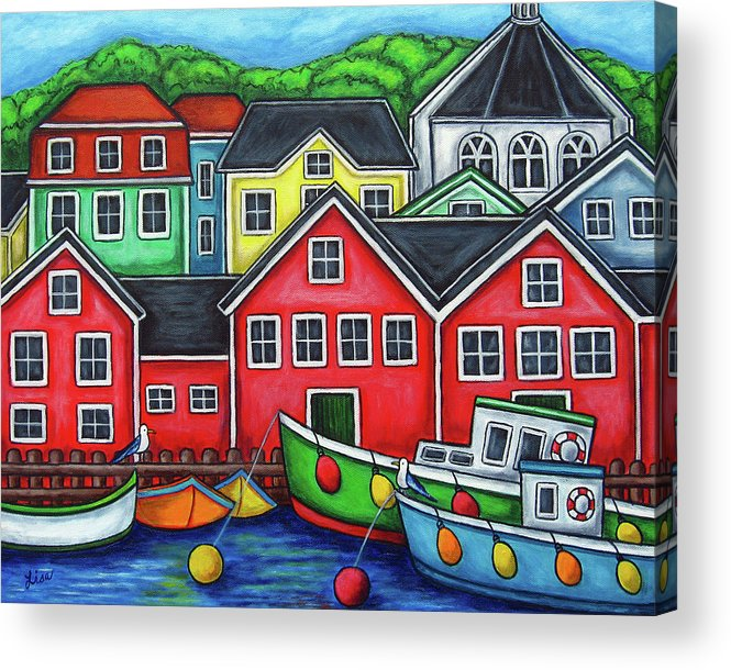Nova Scotia Acrylic Print featuring the painting Colours Of Lunenburg by Lisa Lorenz