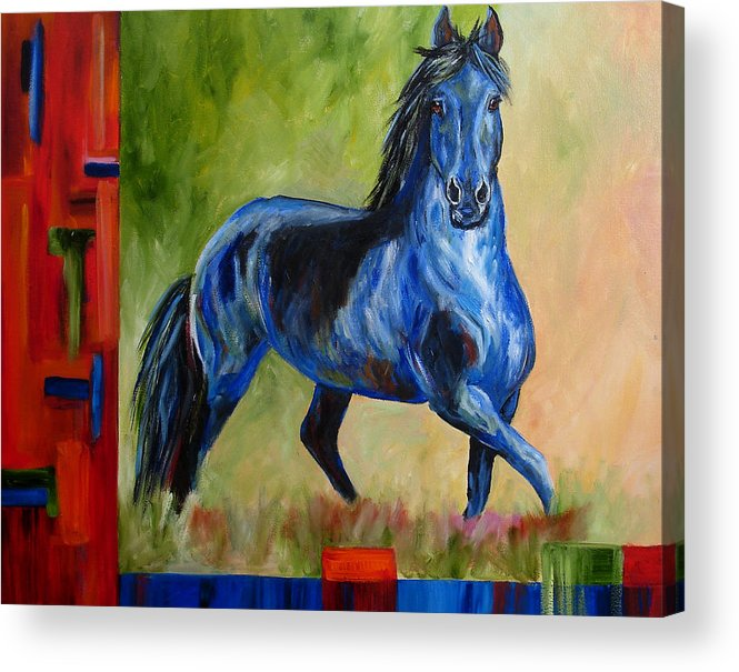Horse Acrylic Print featuring the painting Contemporary Horse Painting Fresian by Mary Jo Zorad