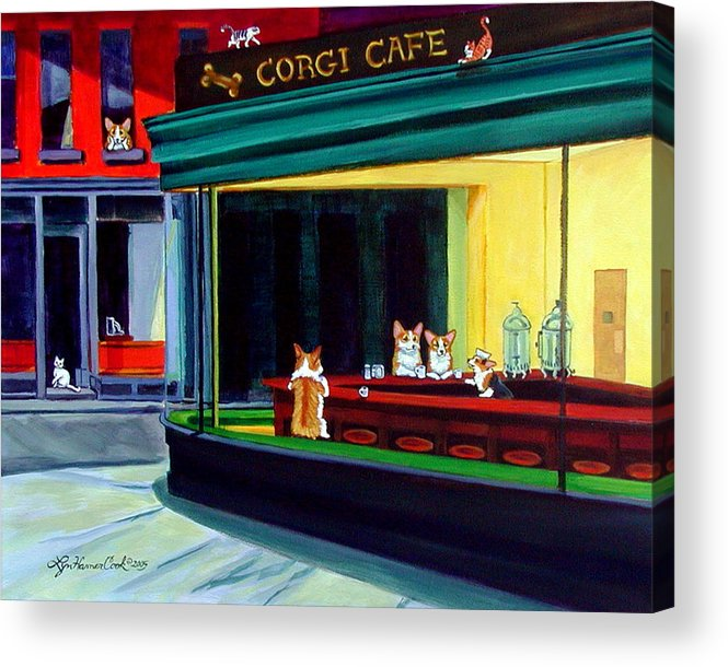 Pembroke Welsh Corgi Acrylic Print featuring the painting Corgi Cafe After Hopper by Lyn Cook