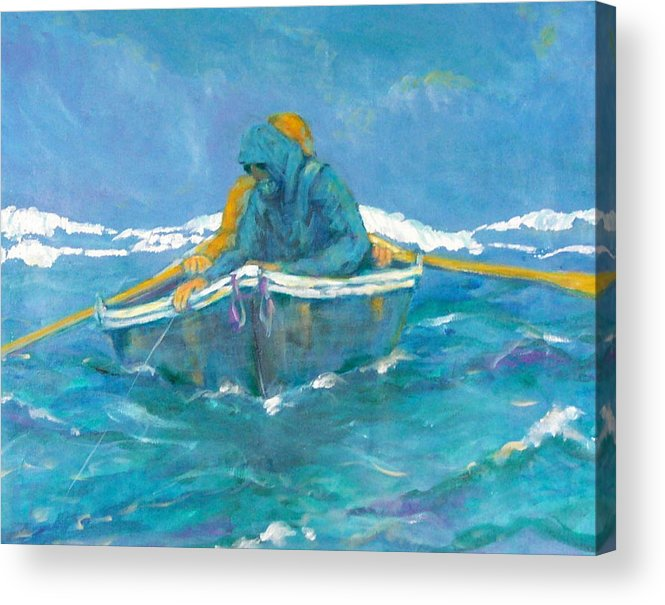 Fishermen Acrylic Print featuring the painting Crossing Over by Ruth Mabee