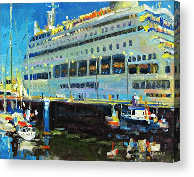 Paintings Acrylic Print featuring the painting Cruise Ship by Brian Simons