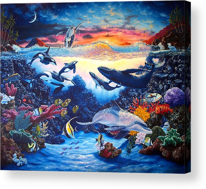 Whale Acrylic Print featuring the painting Crystal Shore by Daniel Bergren