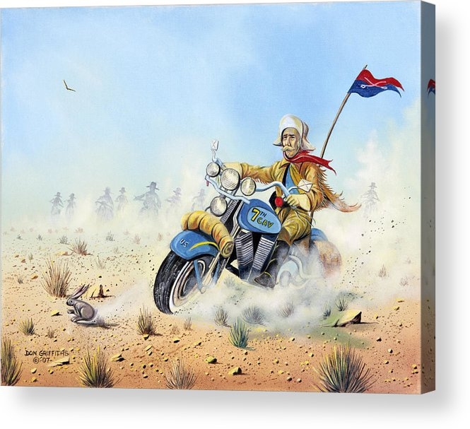 Bike Acrylic Print featuring the painting Custer On A Hog by Don Griffiths