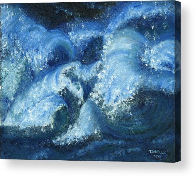 Strong Waves Painted In Blues And Tinges Of Green With Vibrant Color Acrylic Print featuring the painting Dance Of The Stormy Sea by Tanna Lee M Wells