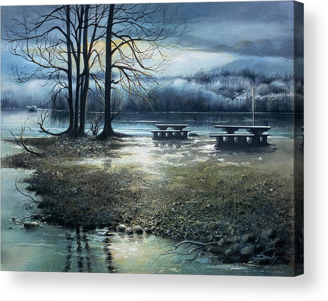 Landscape Acrylic Print featuring the painting Day Break On Inlet Port Moody by Dumitru Barliga