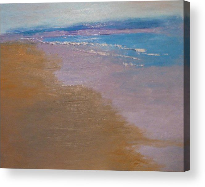 Sea Scape Acrylic Print featuring the painting sold December Sea Shore in California by Irena Jablonski