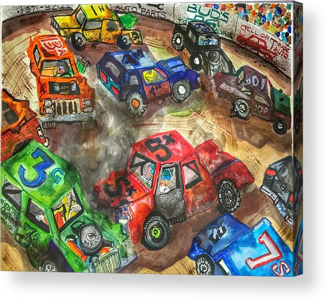 Gm Acrylic Print featuring the painting Demo Derby One by Jame Hayes