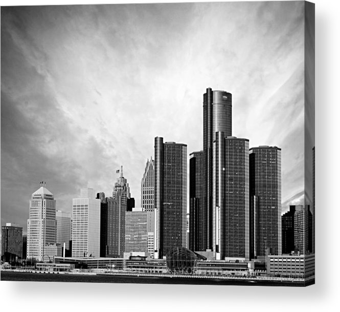 Detroit Acrylic Print featuring the photograph Detroit Black And White Skyline by Alanna Pfeffer