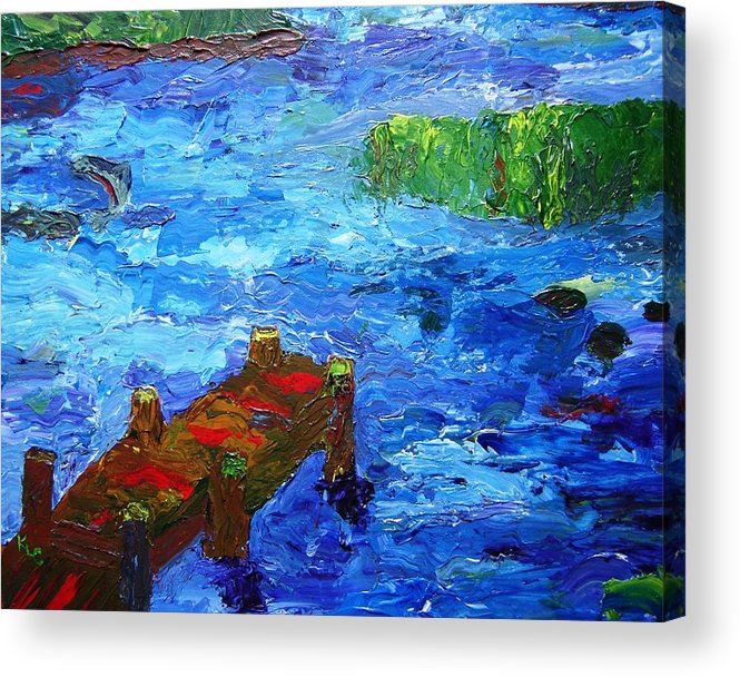 Marsh Acrylic Print featuring the painting Dock On The Marsh by Karen L Christophersen