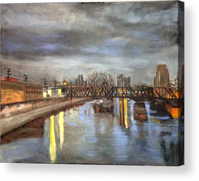 Grand Acrylic Print featuring the painting Downtown Bridge by Mary Marin