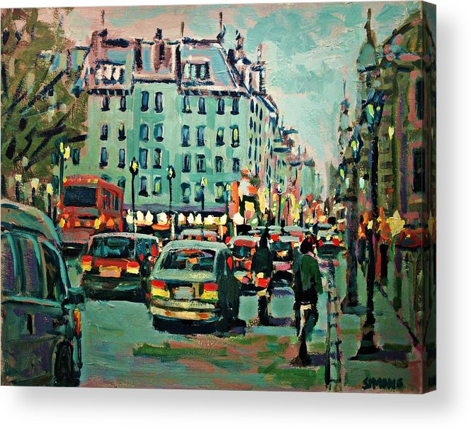 Landscape Acrylic Print featuring the painting Downtown Traffic by Brian Simons