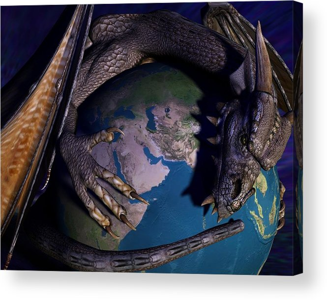 Dragon Acrylic Print featuring the digital art Dragons Do Exist by Linda Cole