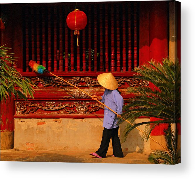 Hanoi Acrylic Print featuring the photograph Dustiing The Windows At The Temple Of Literature by Randy Cummings