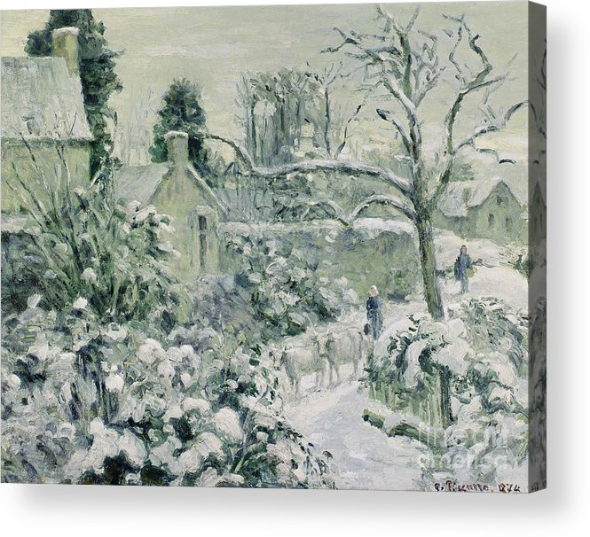 Effect Acrylic Print featuring the painting Effect Of Snow With Cows At Montfoucault by Camille Pissarro