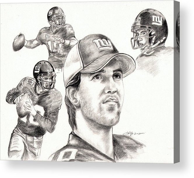 Eli Manning Acrylic Print featuring the drawing Eli Manning by Kathleen Kelly Thompson