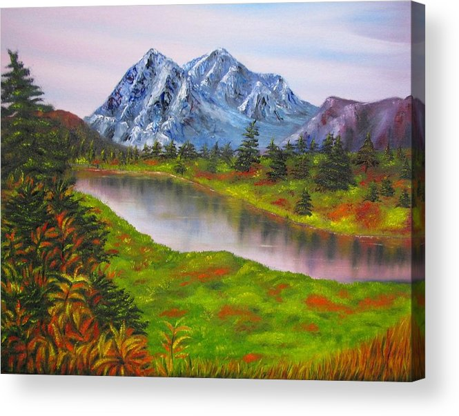 Fall Acrylic Print featuring the painting Fall In Mountains Landscape Oil Painting by Natalja Picugina