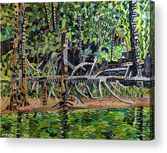 Acrylic Acrylic Print featuring the painting Falls Lake In July by Micah Mullen