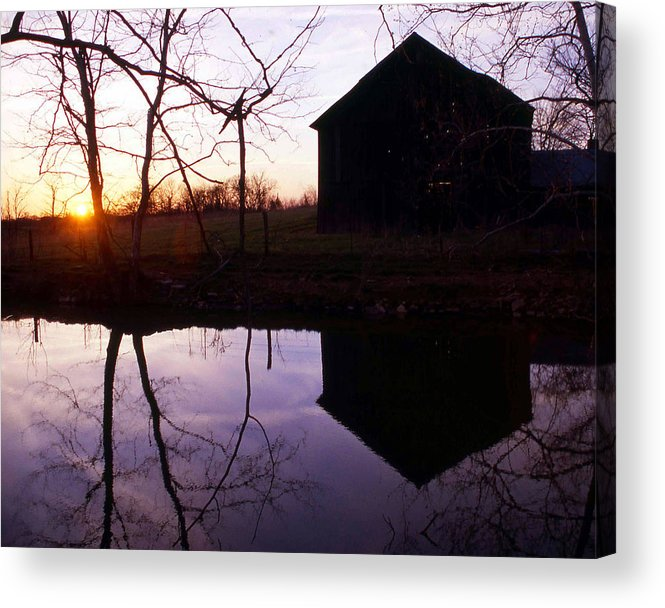 Landscape Acrylic Print featuring the photograph Farm Pond At Sunset by George Ferrell