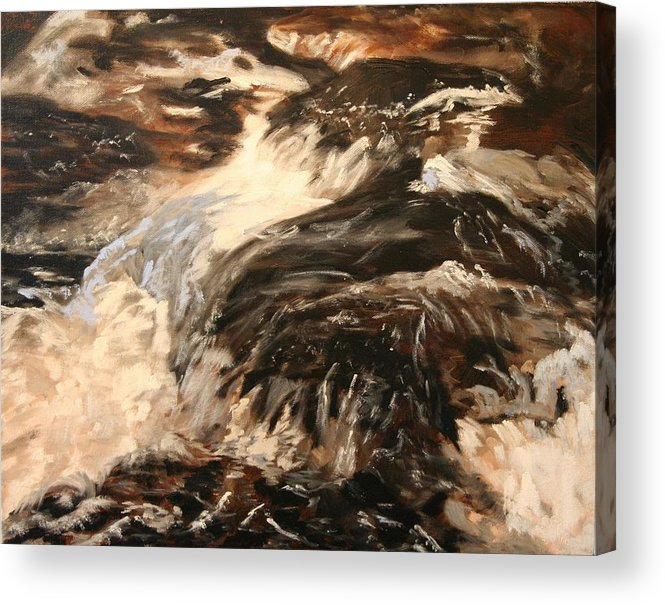 Waterscape Acrylic Print featuring the painting Fast Water by Marilyn Tower